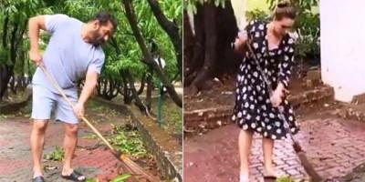 Salman Khan Bersih-bersih di Rumah Pertanian Panvel dengan Iulia Vantur