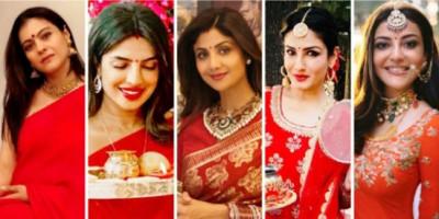 Rayakan Karwa Chauth: 6 Artis Bollywood Ini Tampil Cantik dan Menawan dengan Warna Merah